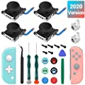 4 Pack Joycon Joysticks, Replacement Joystick for Nintendo Switch Joycon and Switch Lite, Switch Joycon Replacement Repair Kit Include Metal Buckles, Screwdrivers, Pry Tools, Thumb Grips Caps