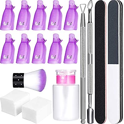 Gel Nail Polish Remover Kit, 420 Pieces Wipe Cotton Pads, 10 Pieces Nail Clips Caps, 3 Pieces Nail File, Triangle Cuticle Pusher and Cutter Set, Nail Brush, Push Down Pump Dispenser Bottle