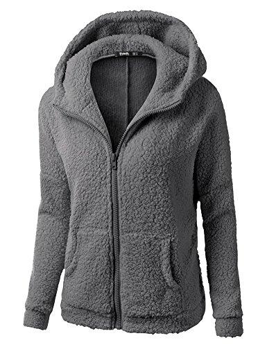 Minetom Frauen Damen Montana Mikro Fleece Jacke Kapuze Pullover Kuschelig Warm Zipper Hoodie Outwear Oberteile Dunkelgrau DE 40
