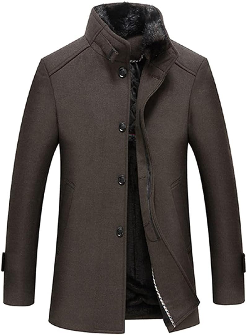 Men Jackets Woolen Coats Stand Collar Coats For Men Single Button Warm Overcoat Elastic Elegant Outwear