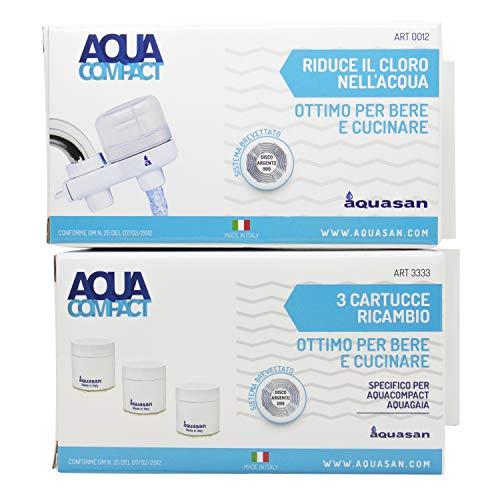 Aquasan Aquacompact + 3 Cartucce Ricambio Filtro Rubinetto Depuratore Microfiltrazione Filtraggio Acqua Potabile Sistema Filtrante MultiStadio per Rubinetto Rimuove Batteri Gusto Odore Indesiderati