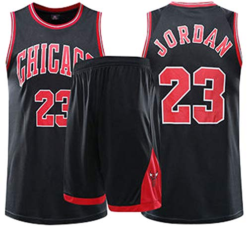 MYXUAA Champion Michael Jordan # 23 Chicago Bulls Kid Boy Herren Basketball Trikots Set Mesh Basketball Swingman Trikot Uniform Classic Ärmellose Top Shorts,Black-M
