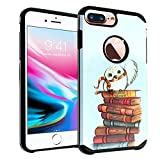 iPhone 8 Plus / 7 Plus Case, IMAGITOUCH 2-Piece Style Armor Case with Flexible Shock Absorption Case & Harry Owl with Books Design Cover for iPhone 8 Plus/7 Plus, iPhone 6 PLUS/6S Plus