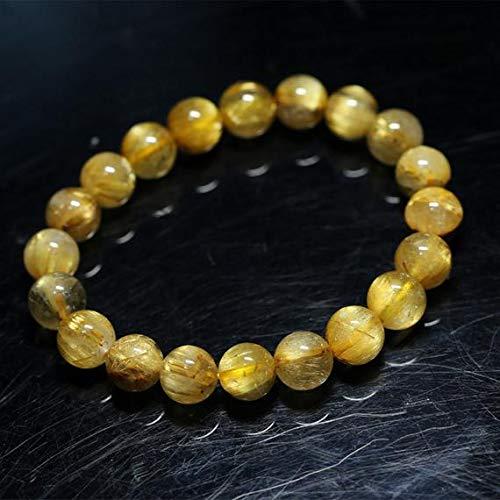 LKBEADS 1 Strands Natural Titanium Gold Hair Rutile Quartz Cat's Eye Stretch Bracelet Round Beads 9.5mm 04282 Code-HIGH-30047