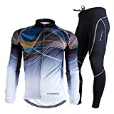 NUCKILY Men's Cycling Jersey Suit Winter Thermal Fleece Long Sleeve Mountain Bike Road Bicycle Shirt with 3D Tights Padded Pants