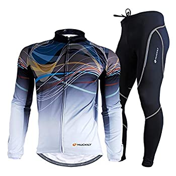 NUCKILY Men s Cycling Jersey Suit Winter Thermal Fleece Long Sleeve Mountain Bike Road Bicycle Shirt with 3D Tights Padded Pants