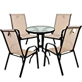 <span class='highlight'>Marko</span> Outdoor Cream Textoline Garden <span class='highlight'>Furniture</span> Set Outdoor Patio Round Rectangular Bistro Table Chairs Seating (5PC Round Set)