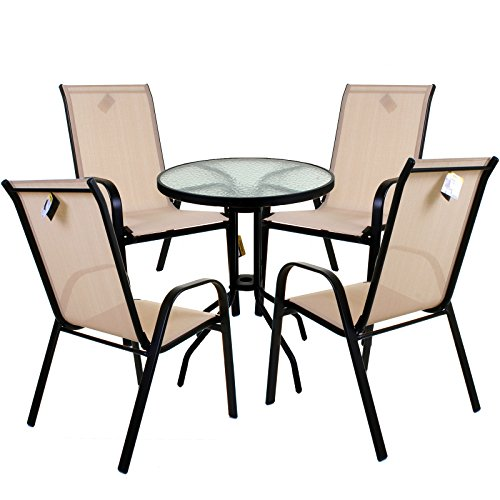 Marko Outdoor Cream Textoline Garden Furniture Set Outdoor Patio Round Rectangular Bistro Table Chairs Seating (5PC Round Set)