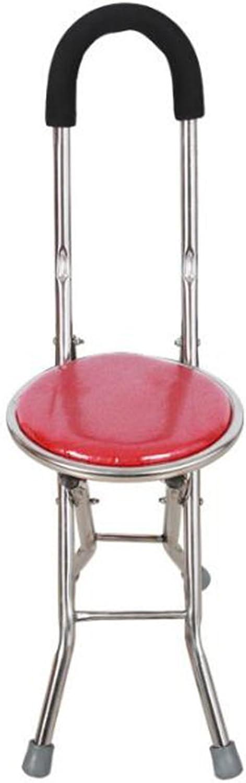 Folding Crutch Stool, Light Crutch Stool Four-Legged Walking Stick Folding Elderly Anti-Skid Crutch (color   RED)