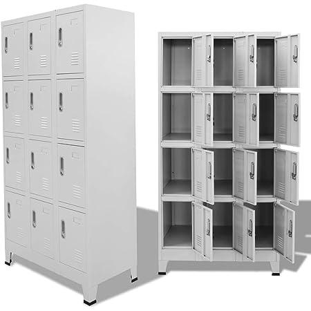 vidaXL Locker Cabinet w/ 12 Compartments Wardrobe Office Gym Storage Organizer