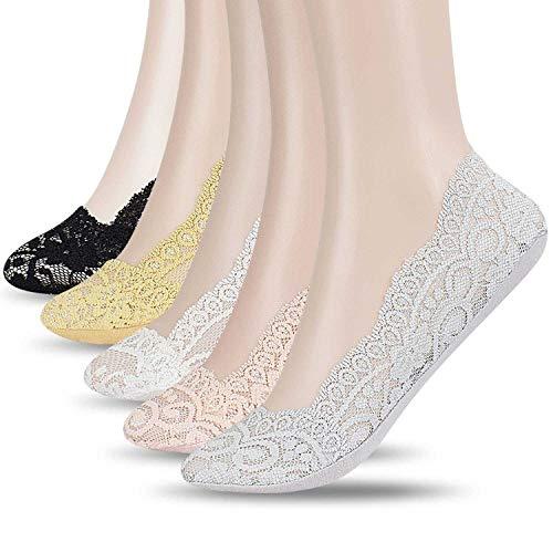 UMIPUBO Sommer Damen Spitzen Rutschfest Silikon Kurze Socken Ultradünne Elastische Ballerina Füßlinge Socken (5 Paar) (Schwarz, Weiß, Hellgrau, Pink, Beige)