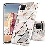Imikoko Hülle für Huawei P40 Lite Marmor Handyhülle TPU weiche schlanke Schutzhülle Handyhülle Flexible Hülle Handyhülle mit marmoriertem Spleißen
