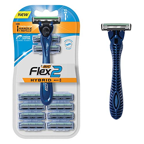 BIC Flex 2 Hybrid Men's Twin Blade Razor, One Handle 10 Cartridges