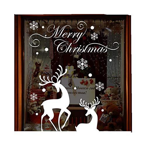 ODJOY-FAN Weihnachten Wandgemälde Abnehmbare Weiß Schneeflocke Rentier Wandaufkleber Weihnachten Wand Aufkleber Dekor Aufkleber 92 * 74cm(Weiß,1PC)