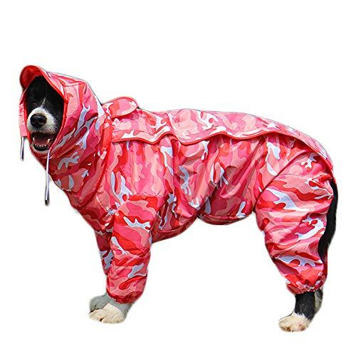 TFENG Hunde Regenmantel mit abnehmbarem Hoodie, Verstellbarer Outdoor-Tunnelzug Hundemantel, wasserdichte Hundejacke Regenjacke mit Kapuze und Kragenloch, 10 Größen (Camouflage pink)
