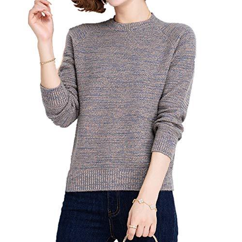 Suéter de mujer otoño invierno suéter manga larga cuello redondo suéter gris