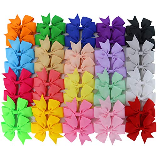 Product Image of the Chiffon 3in Boutique Grosgrain Ribbon Pinwheel Hair Bows Clips for Baby Girls...