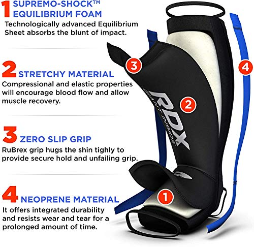 RDX Neoperene MMA Shin Instep Pads Leg Guard Muay Thai Boxing Training Protective Gear Kickboxing (CE Certified by SATRA)