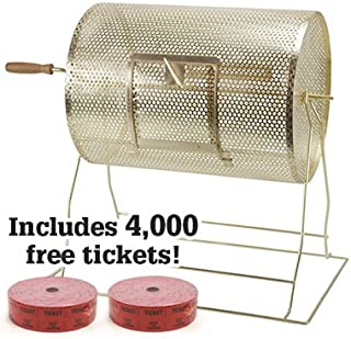 Medium Brass Raffle Drum w/ 4,000 Free Tickets by Midway Monsters