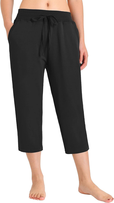 Weintee Women's Cotton Capri Pants with Pockets