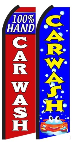 100% Hand Car Wash Car Wash King Swooper Flag- Pack of 2 (Hardware Not Included)