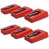 6 Piezas Aguja para Tocadiscos, Tocadiscos Agujas Stylus, Agujas de Recambio para Tocadiscos, Aluminio + Plástico Aguja de Repuesto Tocadiscos Para Reproductor de Discos Vinilo