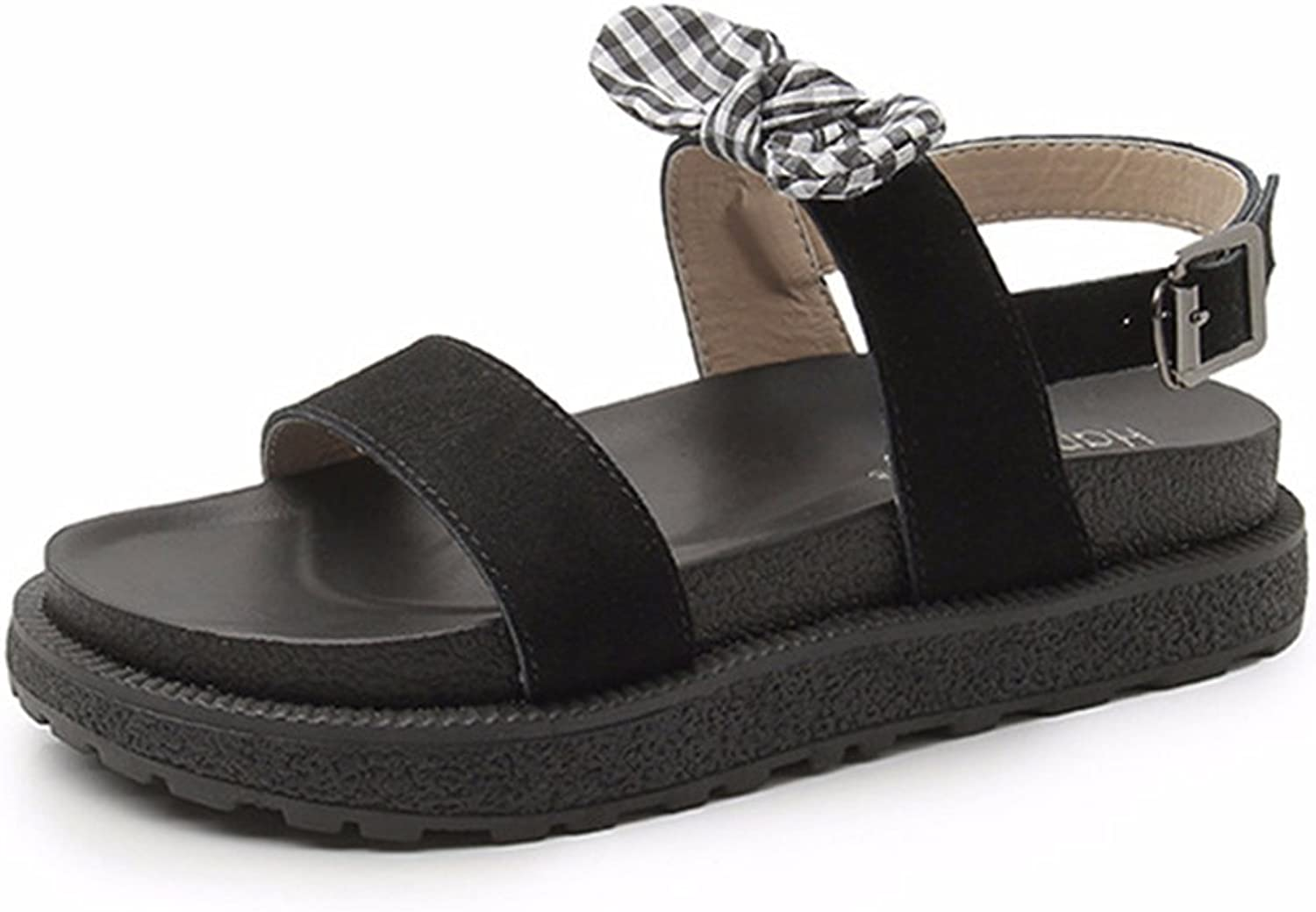 Tuoup Women's Bowknot Ankle Strap Sandles Leather Sandals