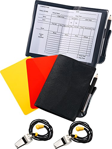 Blulu 2 Sports Soccer Referee Card Set Red Card Yellow Card with 2 Pieces Metal Referee Whistles