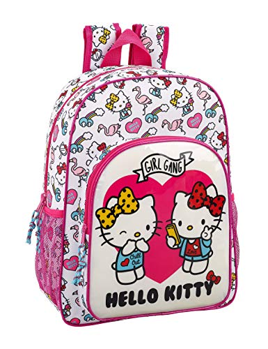 Hello Kitty Mochila Grande Adaptable a Carro, 42 cm, Rosa/Bl