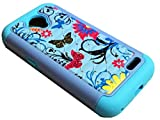 for ZTE Stratos Allstar LTE Z819C Z819L Z818L Sparkle Dual Hybrid Phone Cover Case + Happy Face Phone Dust Plug (Sparkle Bling Hybrid Blue Butterfly)