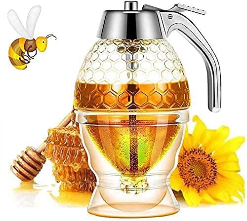 AUNMAS Honigspender, tropffrei, Glas mit Edelstahl-Oberseite, Vintage-Honigtopf Sirupspender Behälter Honigspender Verteilerbehälter für Zuhause Küche