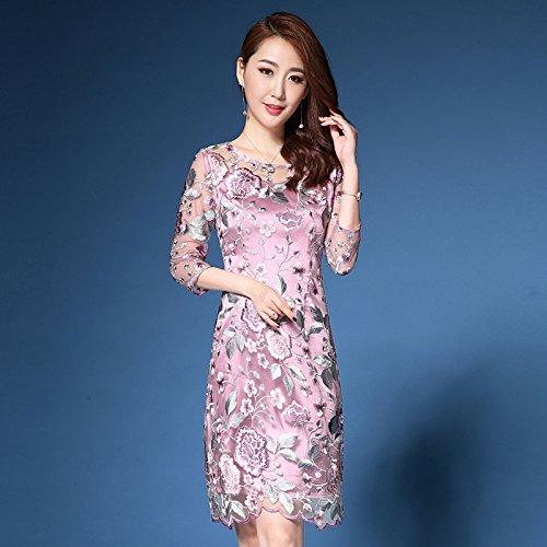 MeiZiZi Esprit Kleid Frühlingskleid,Brautkleid Cheongsam Kleid,Rosa B,XL
