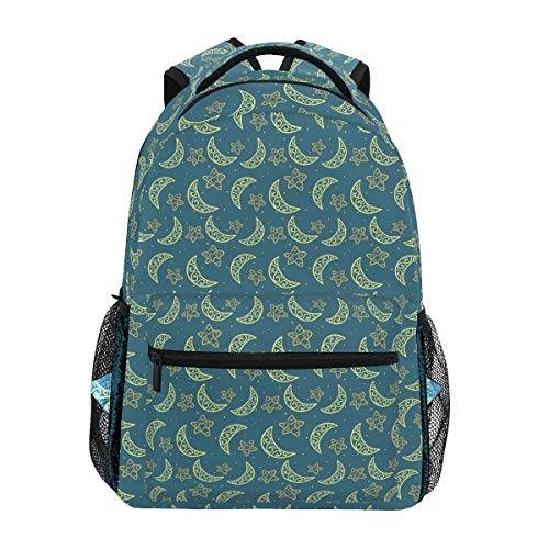 Blue Sun Stars Pattern Casual Backpack Student School Bag Travel Hiking Camping Laptop Daypack