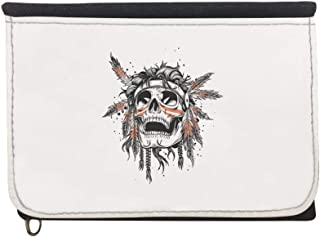 A red Indian skull Printed Case Wallet,  jeans