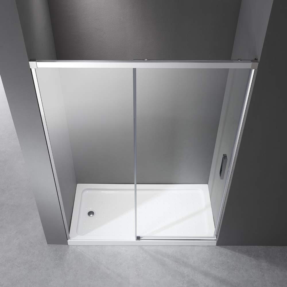 Mampara de ducha de 100 cm, puerta corredera con sistema de apertura de puerta, sin perfil de aluminio inferior, cristal Nano ESG de 6 mm, altura: 195 cm, 5 cm ajustable: Amazon.es: