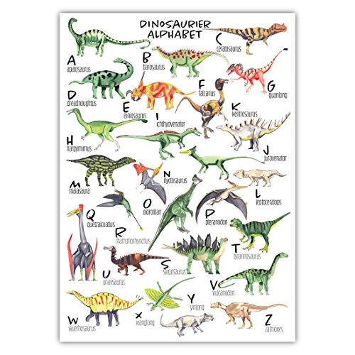 Pandawal Kinderzimmer Bilder für Junge und Mädchen Dinosaurier Poster Dino Alphabet ABC Deko Wasserfarben Lernposter für Kinder 50 x 70 cm Wandbild (M5)