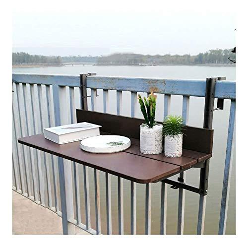 XCJJ Mesa colgante para barandilla de balcón, escritorio de ocio al aire libre para terraza, cubierta, patio, altura ajustable, marrón, 4 tamaños,El 120 * 37cm