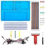 kuman Für Arduino Raspberry Pi 4 Holder Breadboard Kit, 7 in 1 RAB Holder, RPi GPIO Breakout Expansion Board, 830 Punkte Lötfreie Leiterplatte, Widerstände für Arduino R3 SC23