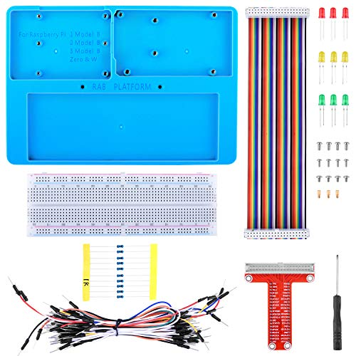 kuman Für Arduino Raspberry Pi 4 Holder Breadboard Kit, 7 in 1 RAB Holder, RPi GPIO Breakout Expansion Board, 830 Punkte Lötfreie Leiterplatte, Widerstände für Arduino R3 SC23