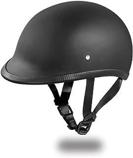 Daytona Helmets Hawk Polo Style Half Shell Helmet (Dull Black, Large) with Head Wrap and Draw String Bag