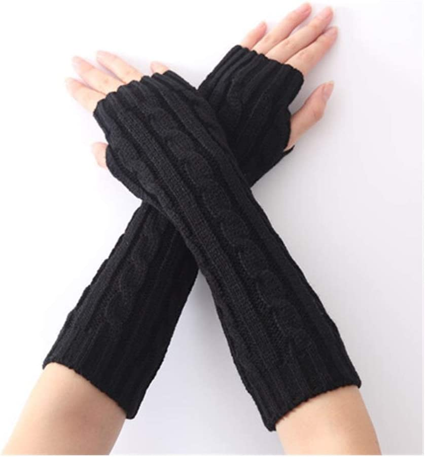 ZZTT Autumn and Winter Gloves with Knitted Fashion Wrist Arm Hand Warmer Knitted Long Fingerless Gloves 2020 HOT Winter Women Fashion Warm Long Gloves Warm and Comfortable Gloves (Color : Black)