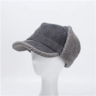HongJie Hou Winter hat Ladies Korean Version of The Corduroy Cap Lambs Velvet Ear Protection Warm hat (Color : Grey)