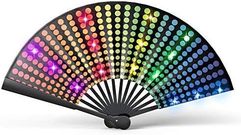 Real Light Up Rave Fan Festival Fan for Parades Fancy Performance Fan for Men or Women LED Fan product image