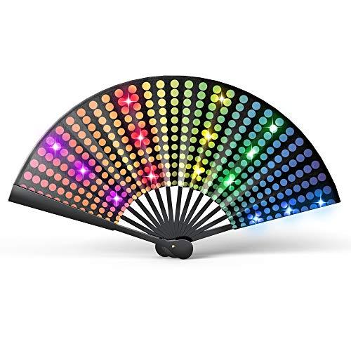 Real Light-Up Rave Fan - Festival Fan for Parades - Fancy Performance Fan for Men or Women - LED Fan - LGBT Pride Fan - EDM Folding Hand Fan (DJ Light, Small Battery Fan)