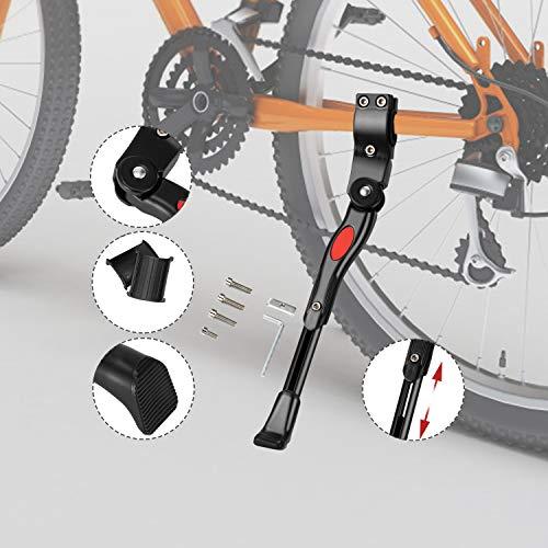 LEBEXY Fahrradständer Mountainbike | Fahrradrahmen Aluminiumlegierung | Gummiständer Einstellbarer | Hinterbauständer Höhenverstellbar | Anti-Rutsch Seitenständer Fahrrad Ständer für 24-28Zoll