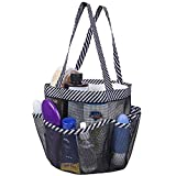 Attmu Portable Shower Caddy with 8 Mesh Storage Pockets, Shower Tote Bag Oxford Hanging Toiletry and Bath Organizer for Shampoo, Conditioner, Soap and Other Bathroom Accessories (Black + Black Strip)
