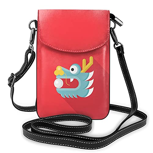 Sac à main en cuir avec motif de dragon chinois pour téléphone portable, porte-monnaie avec bandoulière