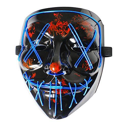 AnVerse LED Máscaras Halloween, Purga Grimace Mask, LED Máscaras con 3 Modos de Parpadeo Controlables y Diferentes, Máscaras de la Purga para Carnaval Cosplay Grimace Festival Fiesta Show (Azul)