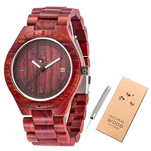 Relojes de Madera Relojes de Pulsera para Hombres Reloj de bambú de Madera para Hombres Correa de Madera Reloj de Cuarzo Regalo para el Marido Rojo