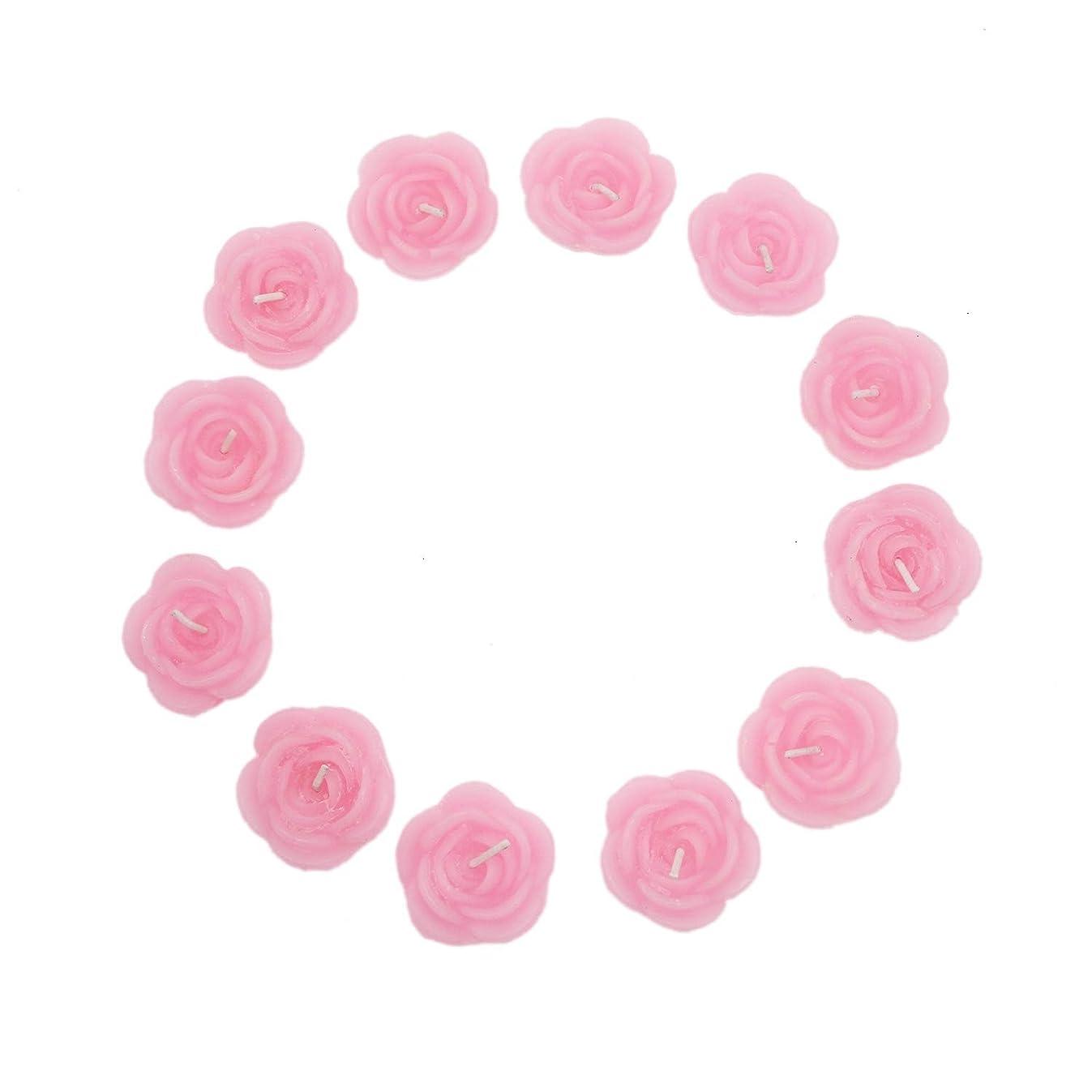 Buorsa 12 Pcs Pink Rose-Shaped Floating Candles